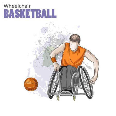 Hand getrokken illustratie. Rolstoel basketbal. Vector schets sport. Grafisch figuur van gehandicapte atleet met een bal. Actieve mensen. Recreatie levensstijl. Man. Gehandicapte mensen. Vector Illustratie