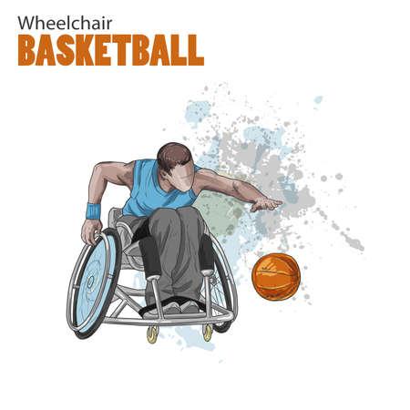 手描きのイラスト。車椅子バスケット ボール。ベクター スケッチ スポーツ。ボールを持つ障害者アスリートのグラフィック図です。アクティブな