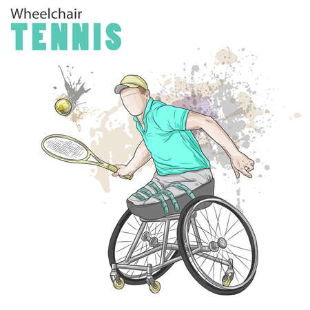 Hand drawn illustration. Wheelchair Tennis. Vector sketch sport. Graphic figure of disabled athlete with a racket and ball. Active people. Recreation lifestyle. Man. Handicapped people.