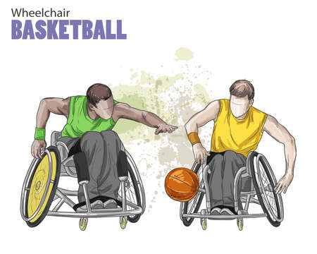 Hand drawn illustration. Wheelchair Basketball. Vector sketch sport. Graphic figure of disabled athletes with a ball. Active people. Recreation lifestyle. Man. Handicapped people. Illustration