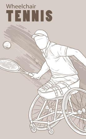 손으로 그린 그림입니다. 휠체어 테니스. 벡터 스케치 스포츠입니다. 라켓과 공을 사용할 수없는 선수의 그래픽 실루엣. 활동적인 사람들. 레크 리 에