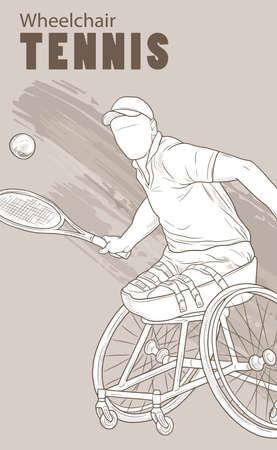 Hand drawn illustration. Wheelchair Tennis. Vector sketch sport. Graphic silhouette of disabled athlete with a racket and ball. Active people. Recreation lifestyle. Man. Handicapped people.