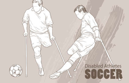 Hand drawn illustration of amputee Football players. Graphic silhouette of disabled athletes on crutches Illustration