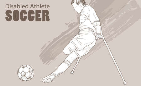 Hand drawn illustration of Amputee Football player. Graphic silhouette of disabled athlete on crutches with a ball. Ilustrace