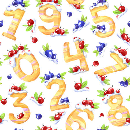 Watercolor Seamless Pattern With Sweet Mathematical Symbols And