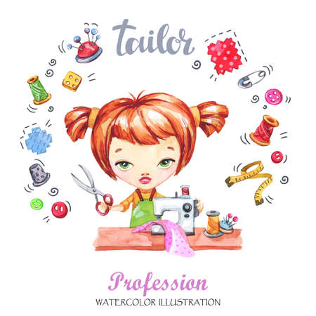 printed machine: Hand drawn illustration. Watercolor card young girl with sewing machine and tools. Profession Tailor. Can be printed on T-shirts, bags, posters, invitations, cards, pillows.