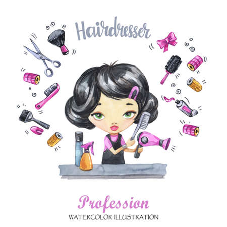 Hand drawn illustration. Watercolor card young girl with hairdryer and comb. Profession Hairdresser. Can be printed on T-shirts, bags, posters, invitations, cards, phone cases, pillows.