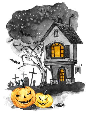 Aquarel landschap. Oude huis, begraafplaats en vakantiepompoenen. Halloween vakantie illustratie. Magie, symbool van afschuw. Enge nacht. Kan worden gebruikt in feestdagen ontwerp, posters, uitnodigingen, kaarten