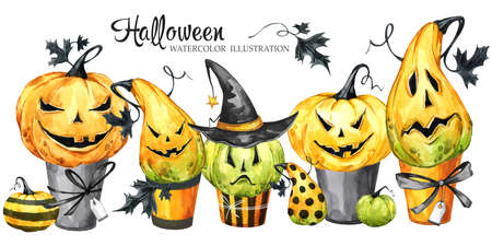 Watercolor border, set of cakes with cartoon pumpkins. Halloween holiday illustration. Funny dessert. Magic, symbol of horror. Baby background. Can be use in holidays design, posters, invitations.