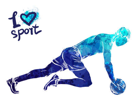 Bright watercolor silhouette of a man is training with a ball. Vector sport illustration. Graphic figure of the athlete. Active people. Recreation lifestyle. Man. I love sport.