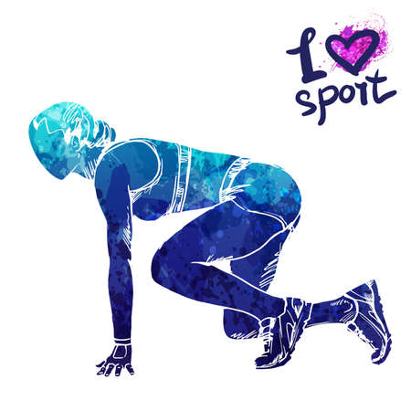 Bright watercolor silhouette of a woman runner ready to start. Vector sport illustration. Graphic figure of the athlete. Active people. Recreation lifestyle. Women. I love sport. Ilustração