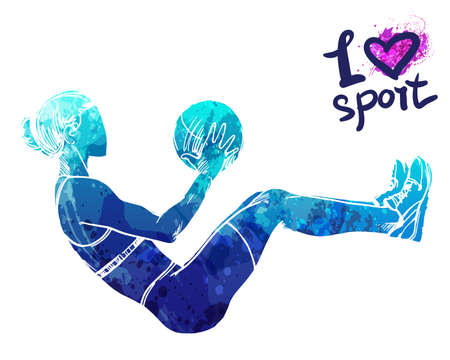 Bright watercolor silhouette of a girl is training with a ball. Vector sport illustration. Graphic figure of the athlete. Active people. Recreation lifestyle. Women. I love sport.