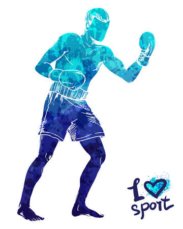 Bright watercolor silhouette of a boxing man. Vector sport illustration. Graphic figure of the athlete. Active people. Recreation lifestyle. Man. I love sport.