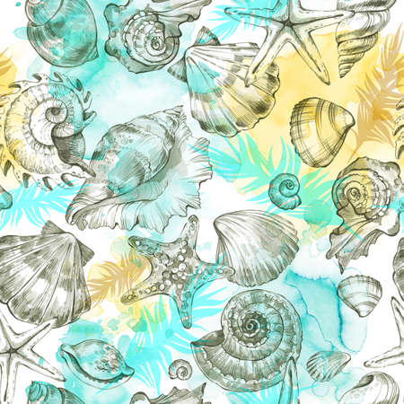 Summer Party holiday background, watercolor illustration. Seamless pattern with sea shells, molluscs and palm leaves. Tropical texture in neon colors. Can be used for a poster, printing on fabric.