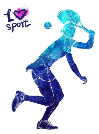 Bright watercolor silhouette of tennis player