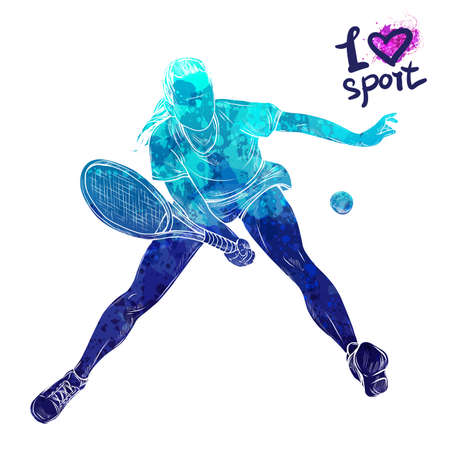 Bright watercolor silhouette of tennis player. Vector sport illustration. Graphic figure of the athlete. Active people. Recreation lifestyle. Women. I love sport.