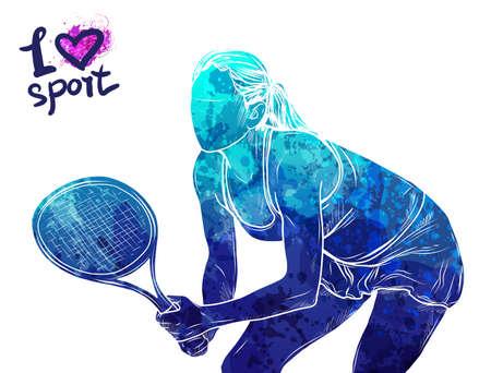 Brillante silueta acuarela del tenista. Ilustración de deporte vector. Figura gráfica del atleta. Gente activa Estilo de vida recreativo Mujer. Logo I love sport.