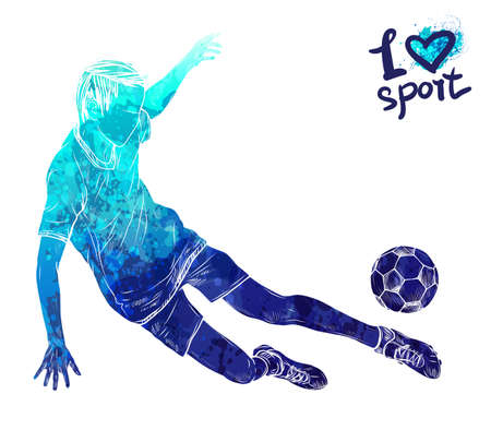 Bright watercolor silhouette of soccer player. Illustration