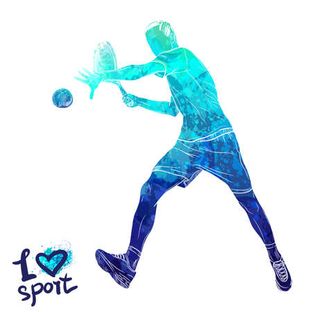 Bright watercolor silhouette of tennis player.