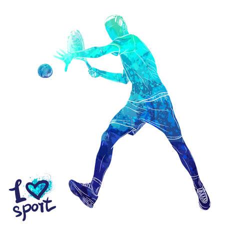 テニス プレーヤーの明るい水彩画シルエット。