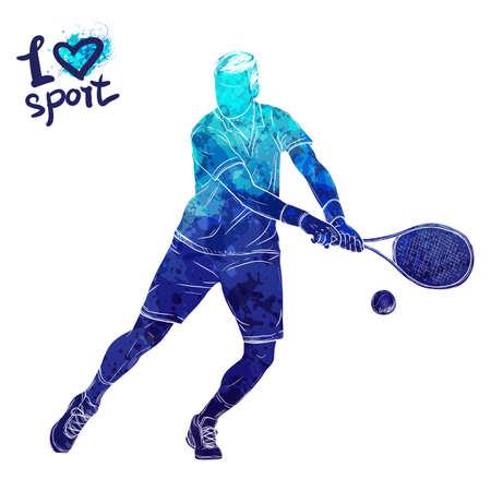 테니스 선수의 밝은 수채화 실루엣