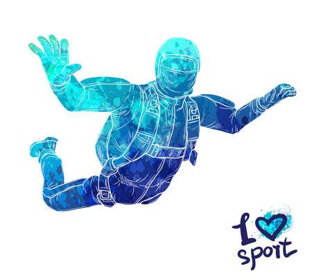 Man sky diving icon. Stock Vector - 87673346