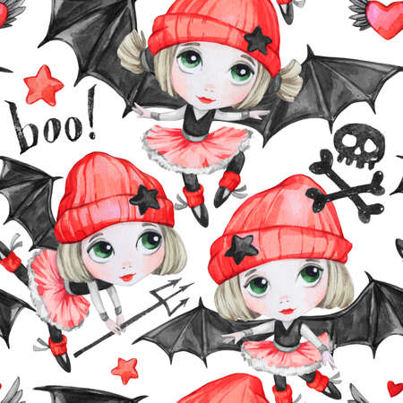 Ballet Girls With Bat Wings And Skulls Dancing Little Witches