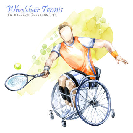 Watercolor illustration. Wheelchair Tennis sport. Figure of disabled athlete in the wheelchair with a racket. Active people. Man. Disability and social policy. Social support. Stock Photo
