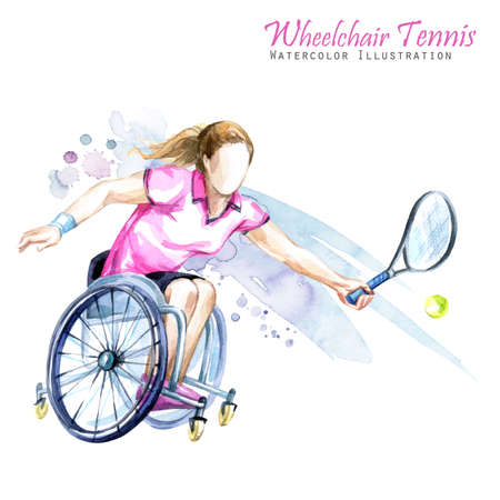 socialization: Watercolor illustration. Wheelchair Tennis sport. Figure of disabled athlete in the wheelchair with a racket. Active people. Woman. Disability and social policy. Social support.