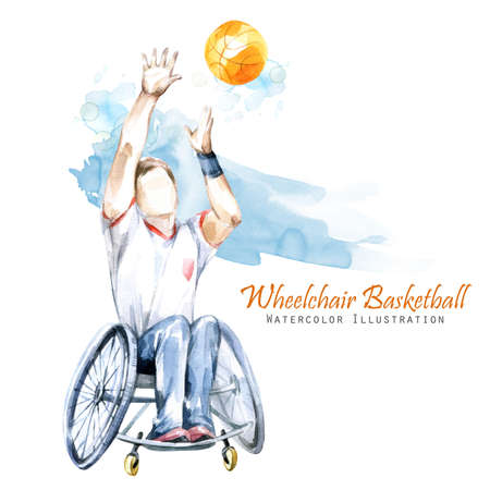 Watercolor illustration. Wheelchair Backetball Paralympic sport. Figure of disabled athlete in the wheelchair with a racket. Active people. Man. Disability and social policy. Social support.