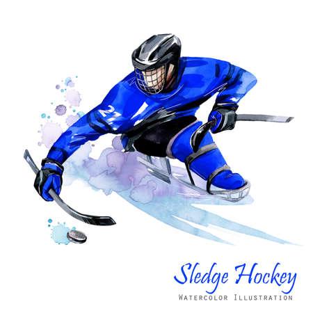 수채화 그림입니다. 슬레지 하키. 장애 눈 스포츠입니다. 퍽이있는 얼음에 무능한 선수의 그림. 활동적인 사람들. 남자. 장애 및 사회 정책. 사회적 지