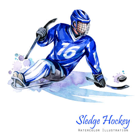 Watercolor illustration. Sledge Hockey. Disability snow sports. Figure of disabled athlete on the ice with a puck. Active people. Man. Disability and social policy. Social support. Extreme games.