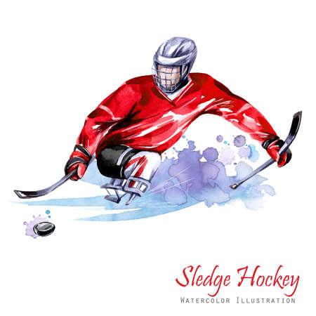 Illustration aquarelle. Hockey sur luge. Sports de neige handicapés. Figure d'athlète handicapé sur la glace avec une rondelle. Les gens actifs. Homme. Handicap et politique sociale. Aide sociale. Jeux extrêmes Banque d'images - 88063208