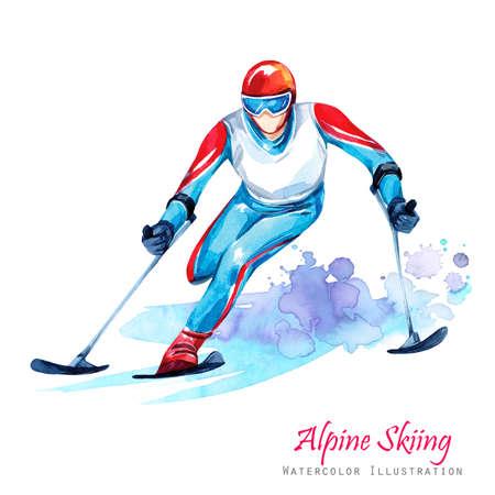 Aquarel illustratie. Alpin Skiën. Handicap sneeuw sporten. Gehandicapte atleet die door ski op sneeuw berijden. Actieve mensen. Man. Handicap en sociaal beleid. Sociale steun. Extreme spellen.