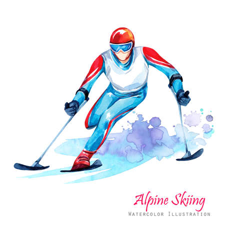 Watercolor illustration. Alpin Skiing. Disability snow sports. Disabled athlete riding by ski on snow. Active people. Man. Disability and social policy. Social support. Extreme games.