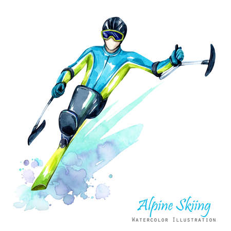 socialization: Watercolor illustration. Alpin Skiing. Disability snow sports. Disabled athlete riding by ski on snow. Active people. Man. Disability and social policy. Social support. Extreme games.