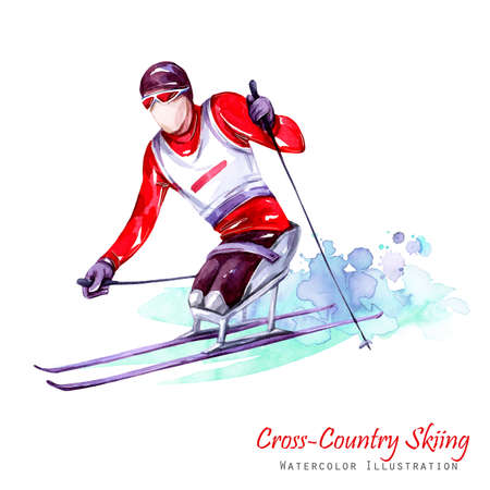 Watercolor illustration. Cross-Country Skiing. Disability snow sports. Disabled athlete riding by ski on snow. Active people. Man. Disability and social policy. Social support. Extreme games.