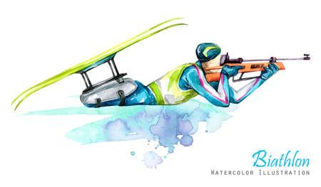 Aquarel illustratie. Biathlon. Langlaufen. Handicap sneeuw sporten. Gehandicapte atleet schiet vanuit een geweer. Actieve mensen. Man. Handicap en sociaal beleid. Sociale steun. Extreme spellen. Stockfoto