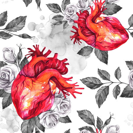 Watercolor seamless pattern, anatomic hearts with sketches of roses and leaves in vintage medieval style. Valentines day illustration. Tattoo art symbol of love. Gothic. Can be use in holidays design.
