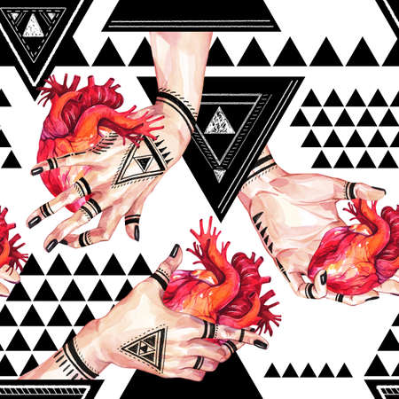 Watercolor seamless pattern, girls hands with mehendi tattoo holding anatomic hearts on geometric background. Human, body parts. Art symbol of love. Esoteric, spiritual illustration. Witches rituals.