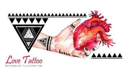 Watercolor banner woman hand with mehendi tattoo holding anatomic heart. Geometric decor, triangles. Human, body parts. Tattoo art symbol of love. Esoteric, spiritual illustration. Witches rituals.