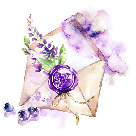 Watercolor illustration of ancient envelope with wax seal, flowers and berries. Archivio Fotografico