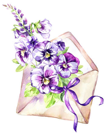 Watercolor illustration. Ancient envelope with a bouquet of pansies and a bow Antique objects. Spring collection in violet shades. ClipArt, DIY, scrapbooking elements. Holiday Decoration.