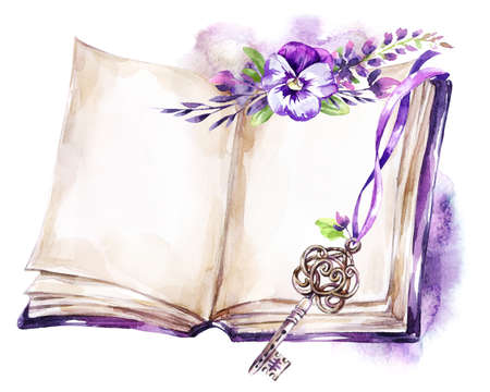 Watercolor illustration. Opened old book with a ribbon, pansy, leaves and key. Antique objects. Spring collection in violet shades. ClipArt, DIY, scrapbooking elements. Holiday Decoration.