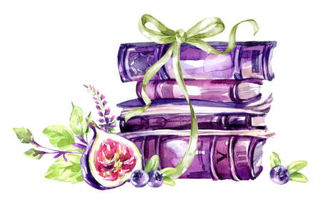Watercolor illustration. A pile of old books with a bow, figs, leaves and berries. Antique objects. Spring collection in violet shades. ClipArt, DIY, scrapbooking elements. Holiday Decoration. Standard-Bild - 95523493