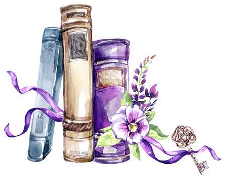 水彩画。弓、パンジー、葉、鍵を持つ古い本の山。アンティークオブジェクト。紫色の色合いの春のコレクション。クリップアート、DIY、スクラッ