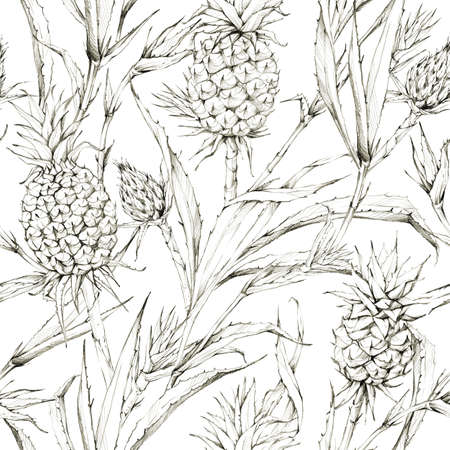 Seamless pattern with pineapples and leaves. Tropical summer graphic illustration. Botanical texture in beige shades. Monochrome nature design. Can be used for a poster, printing on fabric. Imagens