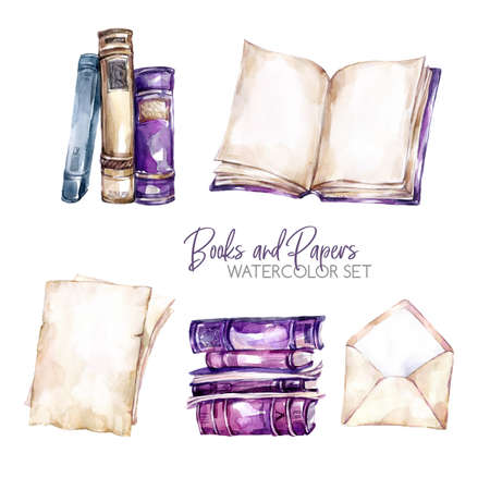 Watercolor borders set with old books, envelope and paper sheets. Original hand drawn illustration in violet shades. School design. ClipArt elements. DIY, scrapbooking collection. Standard-Bild - 97220197