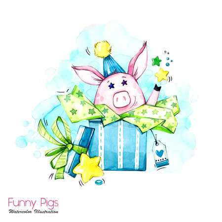 Greeting holidays illustration. Watercolor cartoon pig in gift box with stars and confetti. Funny surprise. Birthday symbol. Perfect for T-shirts, posters, invitations, cards, phone cases. Stock Photo