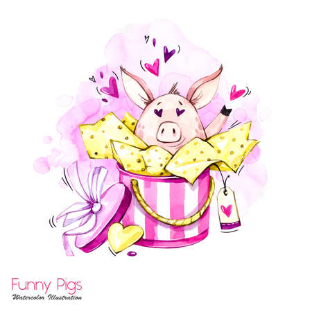 Greeting holidays illustration. Watercolor cartoon pig in gift box with hearts and confetti. Funny surprise. Love symbol. Perfect for T-shirts, posters, invitations, cards, phone cases. Stock Photo